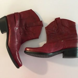 Franco Sarto Red Leather Cowboy Boots 7